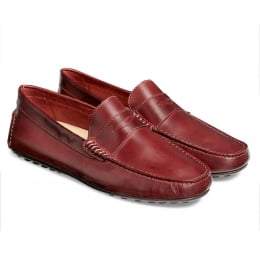 Donnington Driving Moccasin Shoe in Burgundy Calf Leather