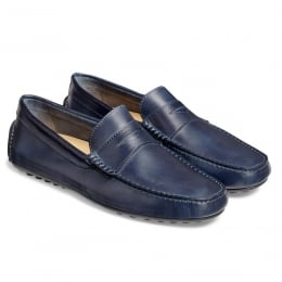 Donnington Driving Moccasin Shoe in Cobalt Blue Calf Leather