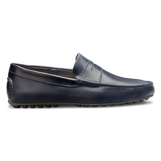 Cheaney Donnington Driving Moccasin Shoe in Cobalt Blue Calf Leather