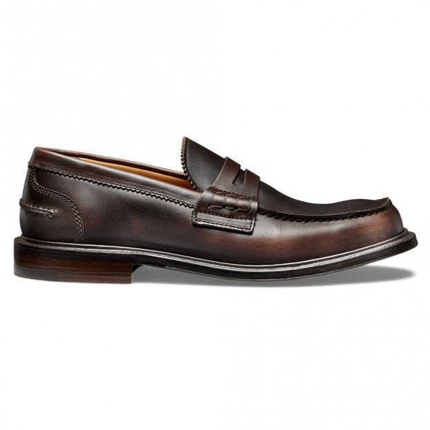 Cheaney Dorking Penny Loafer in Brown Oxford Pull Up Leather