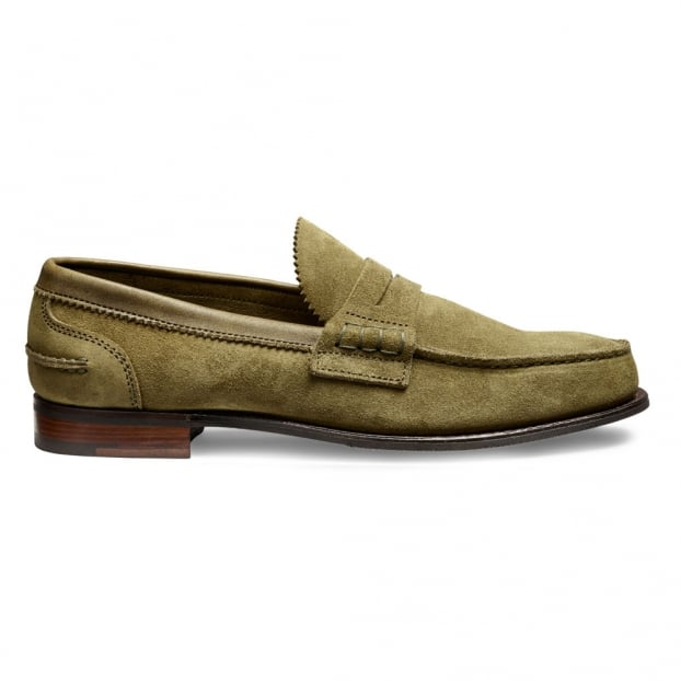 Cheaney Dover D Loafer in Cappero Green Castoro Suede