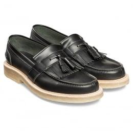 Durham Fringe Tassel Loafer in Antique Black Rub Off Leather