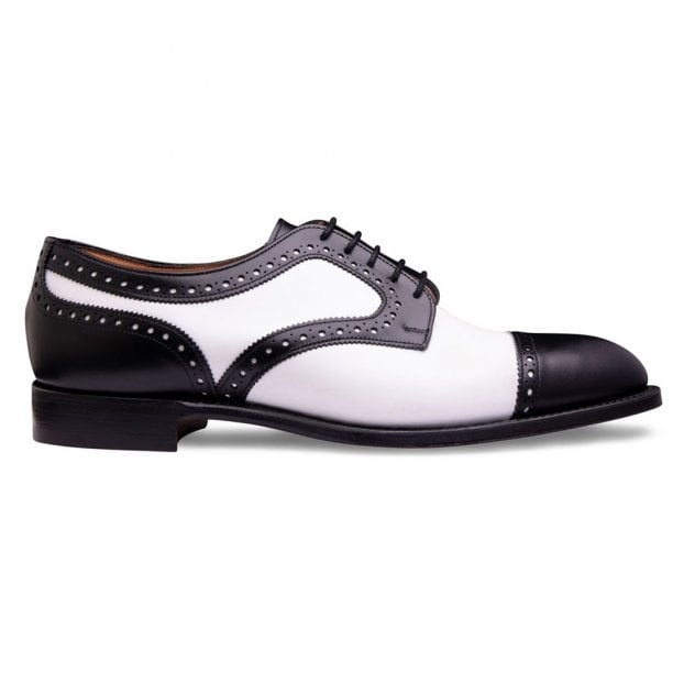 Cheaney Earl Two Tone Capped Derby in Black / White Calf Leather