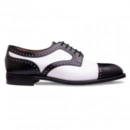 Earl Two Tone Capped Derby in Black / White Calf Leather