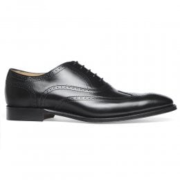 Edinburgh Wingcap Oxford Brogue in Black Calf Leather
