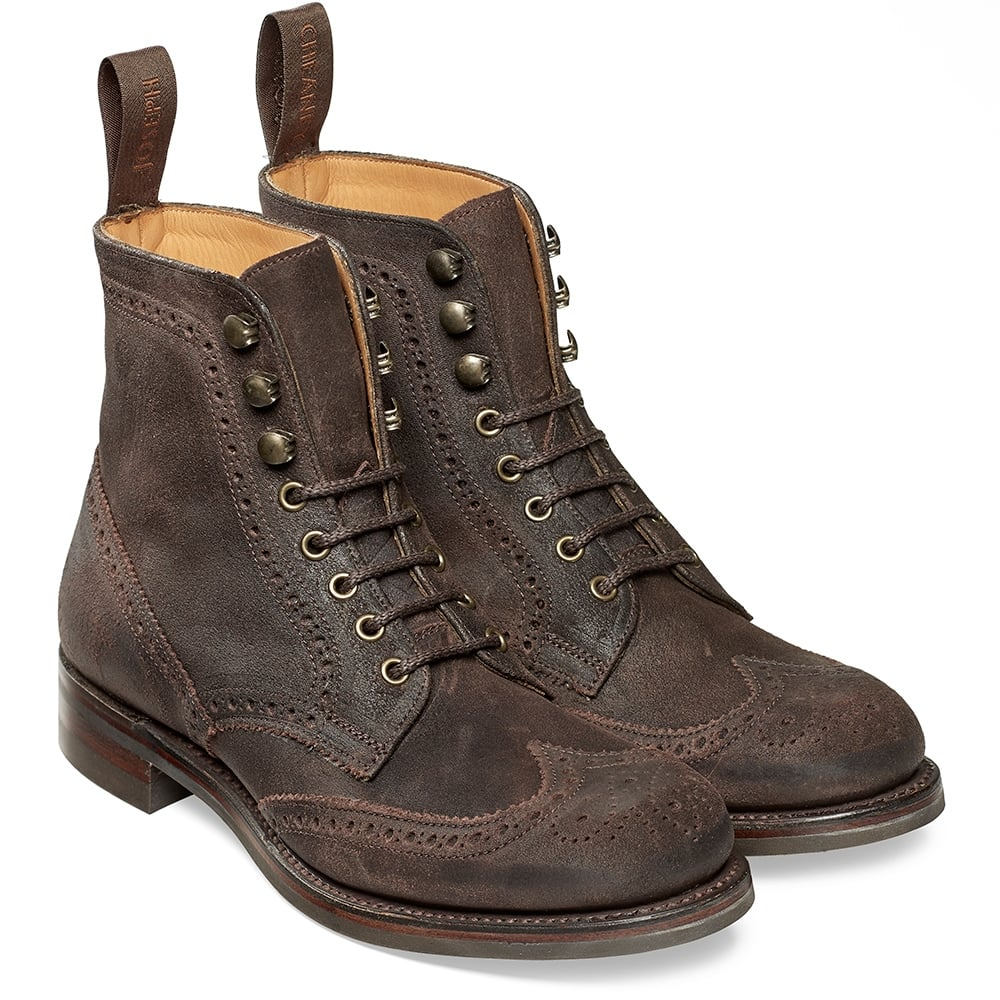 cheaney edith brown wingcap brogue boot made in