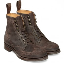 Edith R Ladies Wingcap Brogue Country Boot in Dark Brown Split Coupe Leather