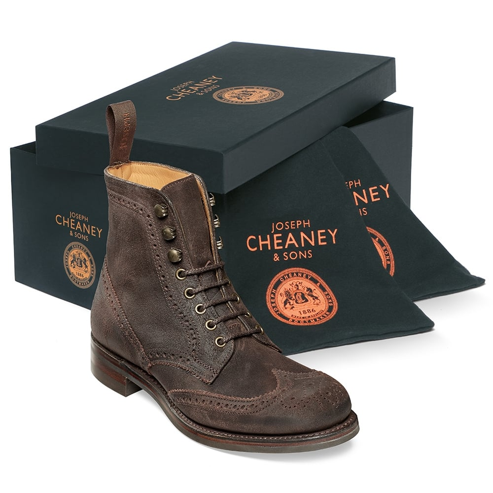 Cheaney Edith R Ladies Wingcap Brogue Country Boot in Dark Brown Split Coupe Leather