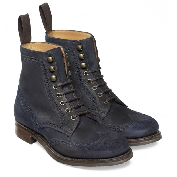 Cheaney Edith R Ladies Wingcap Brogue Country Boot in Navy Split Coupe Leather