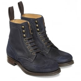 Edith R Ladies Wingcap Brogue Country Boot in Navy Split Coupe Leather