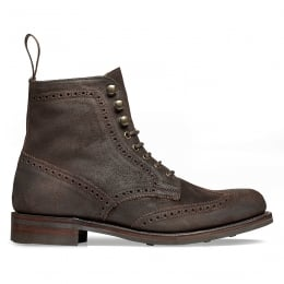 Edith R Wingcap Brogue Country Boot in Dark Brown Split Coupe Leather