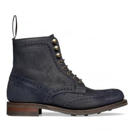 Edith R Wingcap Brogue Country Boot in Navy Split Coupe Leather