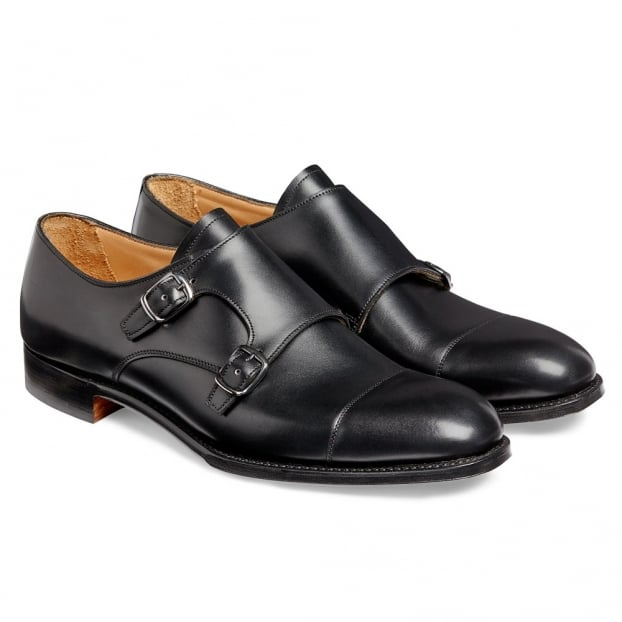 Cheaney Edmund Double Buckle Monk Shoe in Black Calf Leather