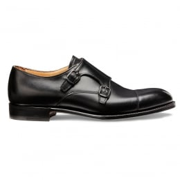 Edmund Double Buckle Monk Shoe in Black Calf Leather