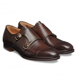 Edmund Double Buckle Monk Shoe in Mocha Calf Leather