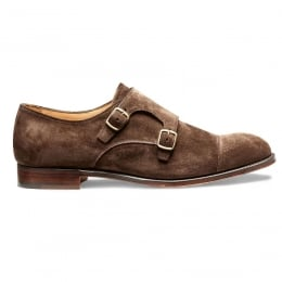 Edmund Double Buckle Monk Shoe in Plough Suede