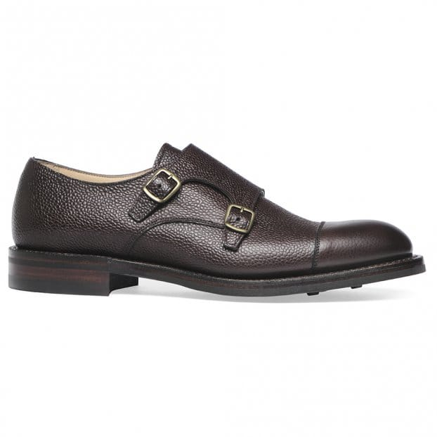 Cheaney Edmund R Double Buckle Monk Shoe in Walnut Grain Leather