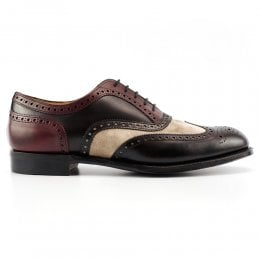 Edwin II EF Oxford Brogue in Black Calf/Burgundy Calf/Mink Suede