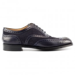 Edwin II EF Unlined Oxford Brogue in Navy Calf Leather/Navy Pepperpot Suede