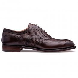 Edwin II Oxford Brogue in Mocha Woven Calf Leather