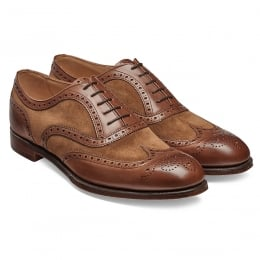 Edwin II Two Tone Oxford Brogue in Conker Calf/Fox Suede