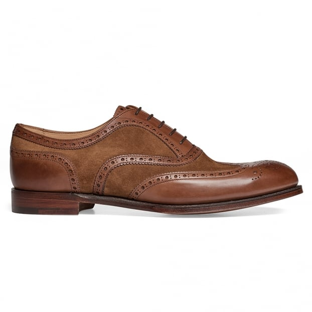 Cheaney Edwin II Two Tone Oxford Brogue in Conker Calf/Fox Suede