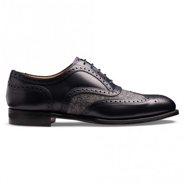Cheaney Edwin II Two Tone Oxford Brogue in Navy Calf/Grey Donegal Tweed
