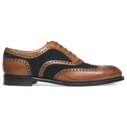 Edwin Two Tone Oxford Brogue in Chestnut Calf/Navy Suede