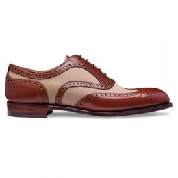Edwin Two Tone Oxford Brogue in Dark Leaf Calf/Sand Canvas
