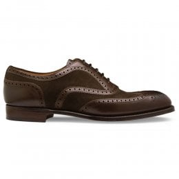Edwin Two Tone Oxford Brogue in Mocha Calf/Pony Suede