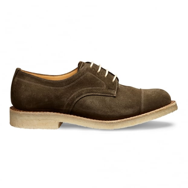 Cheaney Eleanor Capped Derby Shoe in Khaki Suede