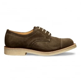 Eleanor Capped Derby Shoe in Khaki Suede