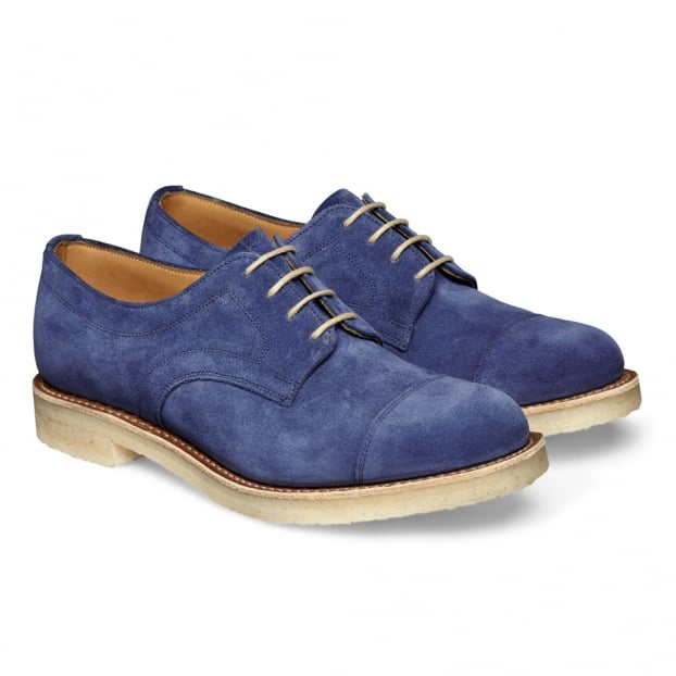 Cheaney Eleanor Ladies Capped Derby Shoe in Bluette Castoro Suede