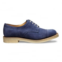 Eleanor Capped Derby Shoe in Bluette Castoro Suede