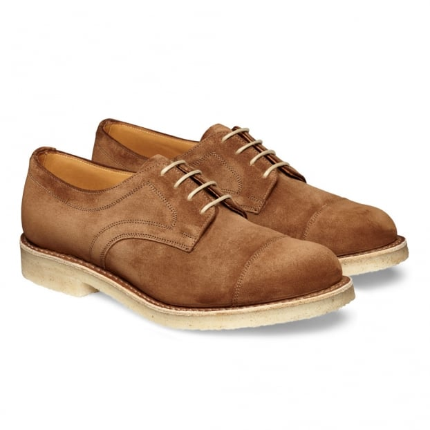 Cheaney Eleanor Ladies Capped Derby Shoe in Fox Suede