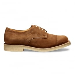 Eleanor Ladies Capped Derby Shoe in Fox Suede