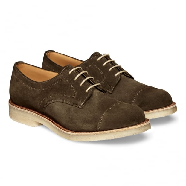 Cheaney Eleanor Ladies Capped Derby Shoe in Khaki Suede