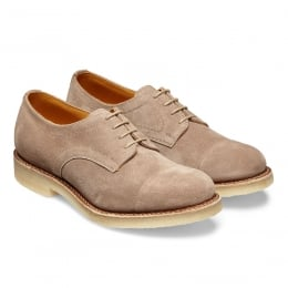 Eleanor Ladies Capped Derby Shoe in Mink Suede