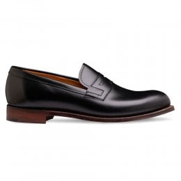 Ella Penny Loafer in Black Calf Leather