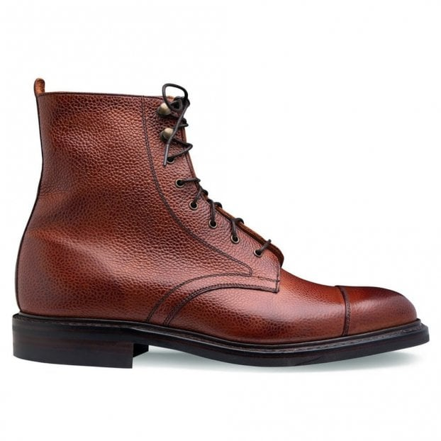 Cheaney Elliott II R Capped Derby Boot in Mahogany Grain Leather