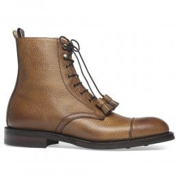 Elliott R Capped Derby Boot in Almond Grain Leather