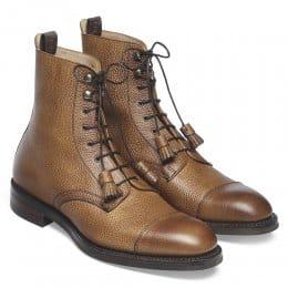 Elliott R Capped Derby Boot in Almond Grain Leather