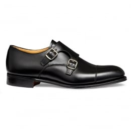 Emily D Double Buckle Monk Shoe in Black Calf Leather