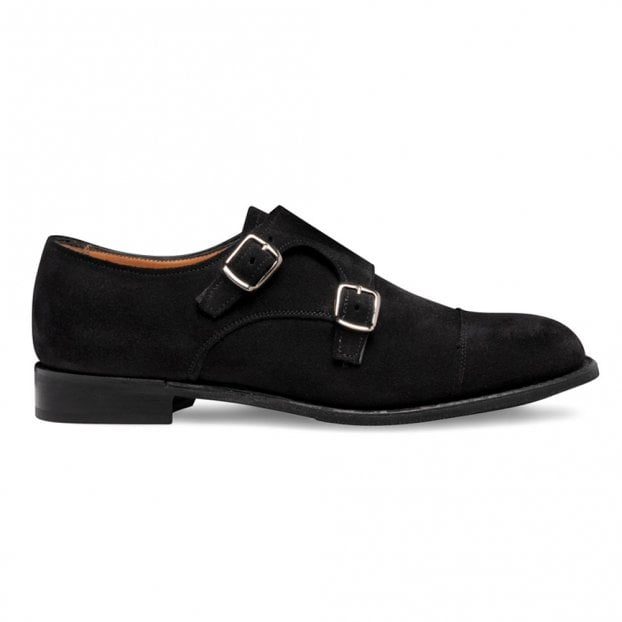 Cheaney Emily D Double Buckle Monk Shoe in Black Suede