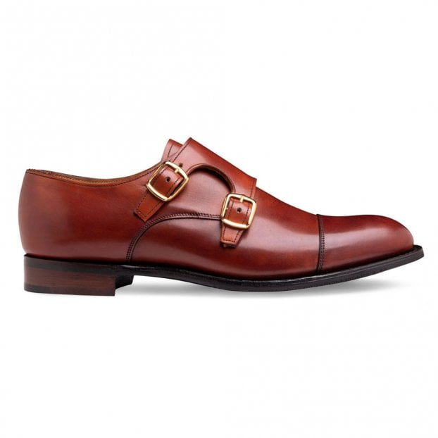 Cheaney Emily D Double Buckle Monk Shoe in Dark Leaf Calf Leather