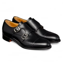 Emily Ladies Double Buckle Monk Shoe in Black Calf Leather