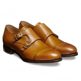 Emily Ladies Double Buckle Monk Shoe in Chestnut Calf Leather