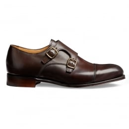 Emily Ladies Double Buckle Monk Shoe in Mocha Calf Leather