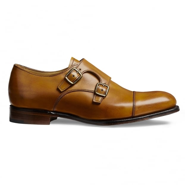 Cheaney Emily Ladies Double Buckle Monk Shoe in Original Chestnut Calf Leather