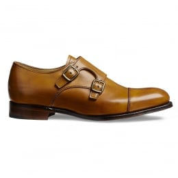 Emily Ladies Double Buckle Monk Shoe in Original Chestnut Calf Leather